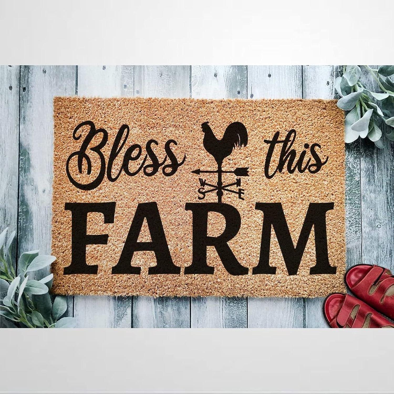Bless This Farm Coir Doormat Rustic It is very popular Mats Save money Door Welcome for Indoor
