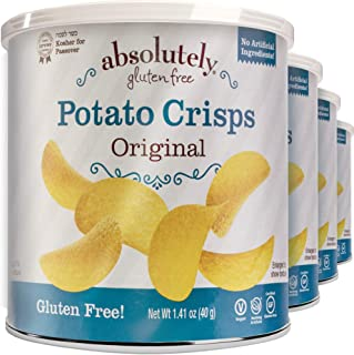 Absolutely Certified Gluten Free Original Stacked Potato Crisps 1.41oz (Pack of 4), Vegan Friendly, No Artificial Ingredients