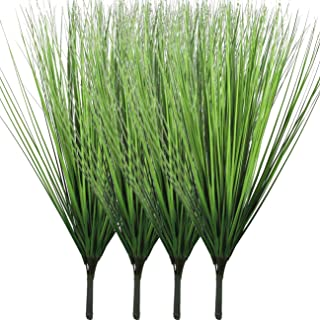 Beebel 4 Bunches Artificial Plants Plastic Wheat Grass Faux Shrubs Simulation Greenery Faux Flowers Shrubs Plant for Outdo...