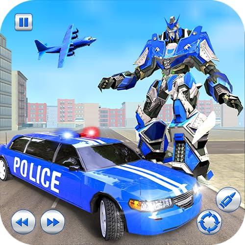 Modern Limo Car Superhero Police Robot Transform Simulator: Grand Robot Shooting US City Rescue Games 2020