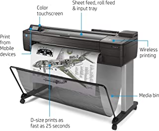"""HP DesignJet T730 Large Format Wireless Plotter Printer - 36"""", with Security Features (F9A29A)"""