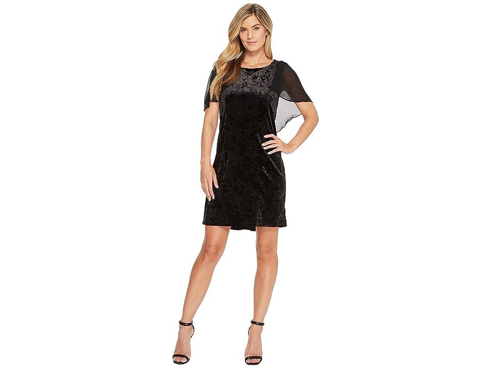 B Collection by Bobeau Pery Velvet Cape Dress (Black) Women