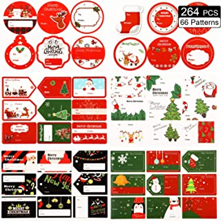 264 Pieces Christmas Gift Tag Christmas Stickers Name Tags Christmas Self Adhesive Gift Tag Labels Decorative Stickers for Gifts