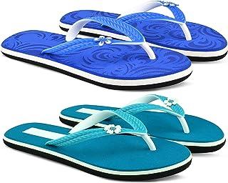 StyleArt Women's Combo of 2 Pair Flip Flops, Blue & Green EVA Slipper for Women, Blended Combination of Luxury Style, Ligh...