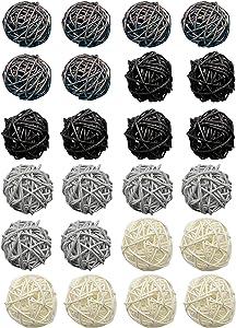Yansanido 24pcs 2'' Wicker Rattan Balls (4 Color) Decorative Ball Decorative Orbs Vase Fillers Home Decorative Accessories for Table Decor, Wedding Party Decoration (Black,Coffee,Gray,White)