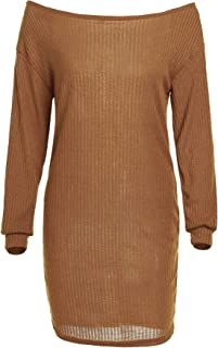Onoti Molazo Women's Knit Boat Long Sleeve Neck Ribbed Solid Sweater Dress