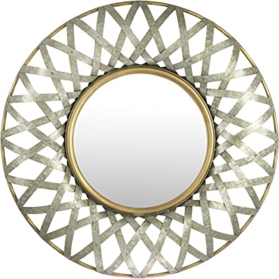 Creative Co-Op Round Metal Wall Gold and Galvanized Finish Mirror