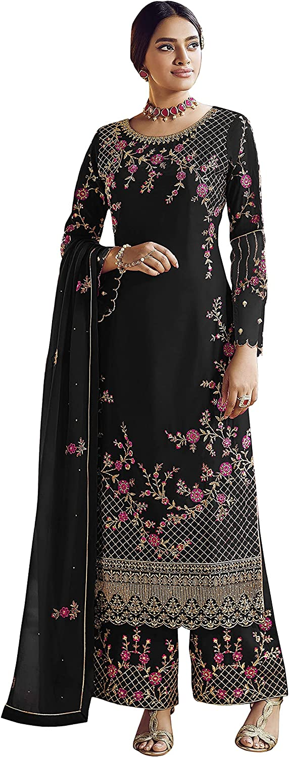 Lady Dwiza Palazzo Style Suit for Indian Pakistani Party Wear Women Embroidered Dress Salwar Kameez Suit