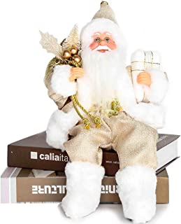 Costyleen Christmas Santa Claus Figurine Decoration Medium Size Ornament Enjoyable Gift Doll Toy Table Decor Festival Present - Sitting Posture 13'' Gold