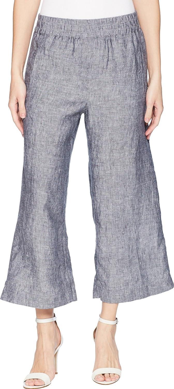 Elliott Lauren Womens Elastic Waist Linen Crop Pants