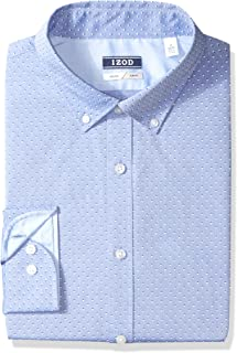 IZOD Men's Slim Fit Print Buttondown Collar Dress Shirt