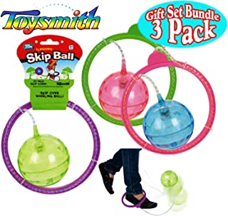 Toysmith Flashing Skip Ball Purple/Green, Green/Pink & Blue/Pink Complete Gift Set Bundle - 3 Pack