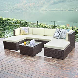 Wisteria Lane Outdoor Furniture 7 Piece Patio Wicker Sofa Set Washable Seat Cushions and Glass Coffee Table, Brown