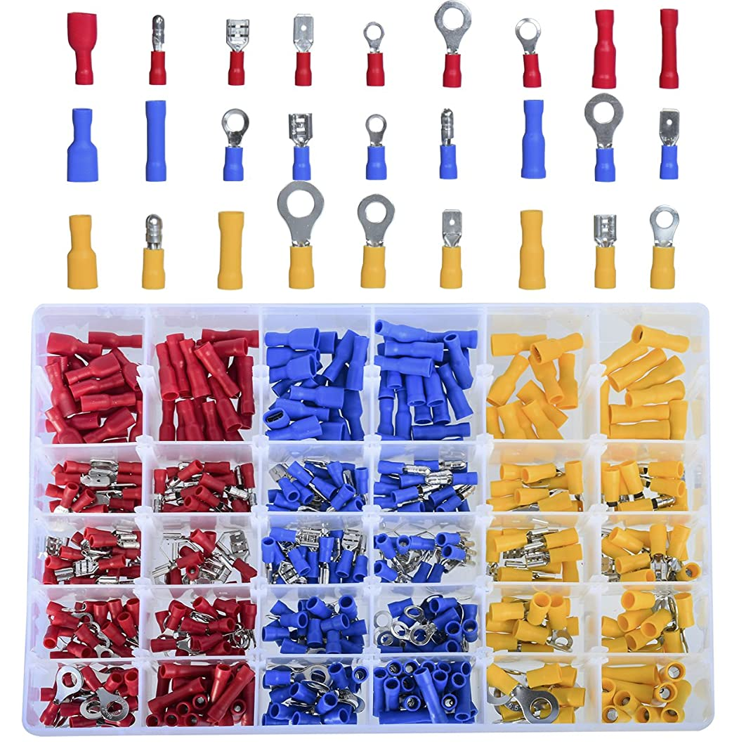 DEDC 480Pcs Insulated Electrical Automotive Wire Assortment Terminals Crimp Wiring Connectors Kit Butt Spade Case Set Color Assorted