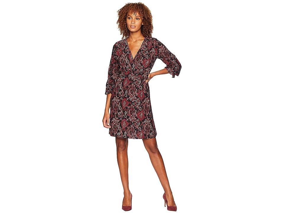 MICHAEL Michael Kors V-Neck Long Sleeve Shirring Dress (Black/Maroon) Women