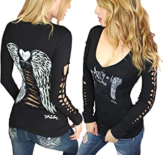 Sexy Gothic Biker Tee Angel Wings Tattoo Long Sleeve Tattoo Tee Slashed Cut Out Pinup Top