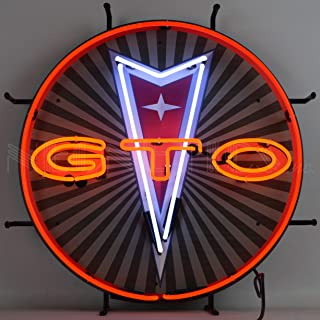 Neonetics GTO Pontiac Neon Sign with Backing, Red, White and Orange Hand Blown Real Glass Tubes, Measures Wide by 24 Inches Tall – 5GTOBK