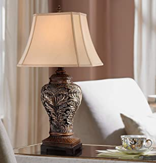 Leafwork Traditional Table Lamp Bronze Curling Leaves Tan Rectangular Shade for Living Room Family Bedroom Bedside - Barnes and Ivy