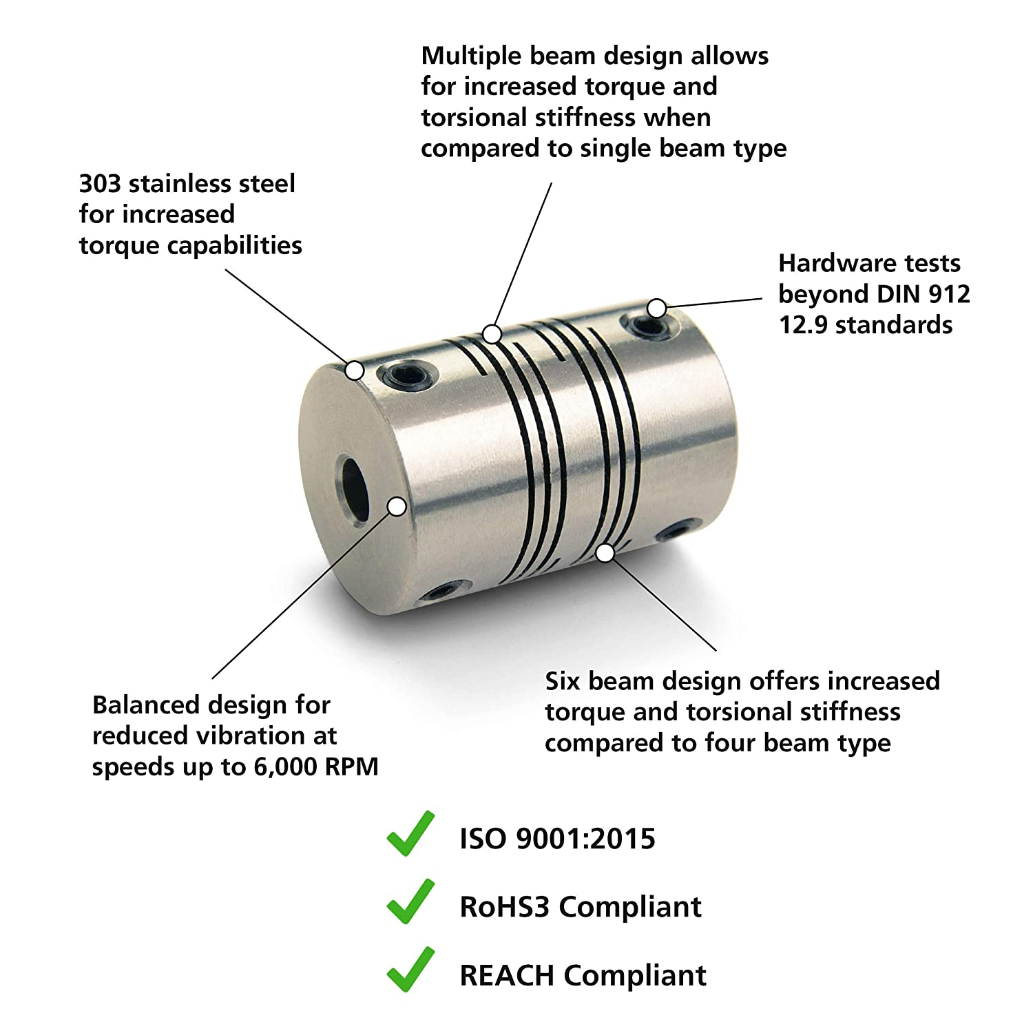 38.1 mm Length 28.6 mm OD 4-Beam Set Screw Style 11 mm x 8 mm Bores Ruland PSMR29-11-8-SS 303 Stainless Steel Beam Coupling