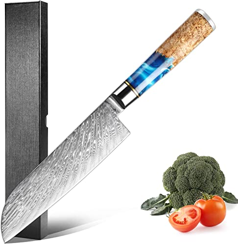 popular XITUO Santoku Knife 7 inch, Japanese Santoku Chef Knives VG10-Damascus Steel online sale Cooking Knife discount Blue Resin Wood Handle with Gift Box/Sheath sale