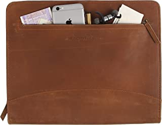 """Pad folio Portfolio Planner Organizer Zippered Document holder made in cow leather with A4 sized pocket compatible with 11""""MacBook Dell Asus Acer laptop Tablets Brown by The Leather Warehouse"""