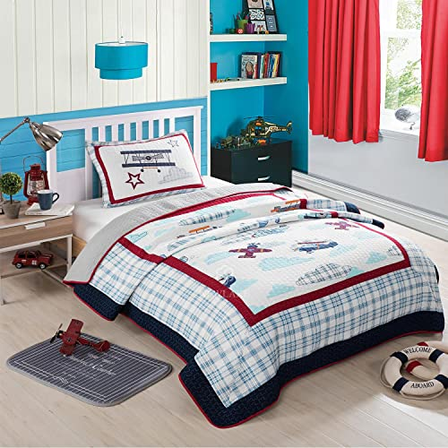Airplane Duvet Cover Set with Pillow Shams Old School Planes Print