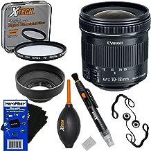 Canon EF-S 10-18mm f/4.5-5.6 is STM Zoom Lens for EOS 7D, 60D, 70D, 80D, Rebel SL1, SL2, SL3, T1i, T2i, T3, T3i, T4i, T5, T5i, T6, T6i, T6s,T7 & T7i SLR Cameras + 7pc Accessory Kit w/HeroFiber