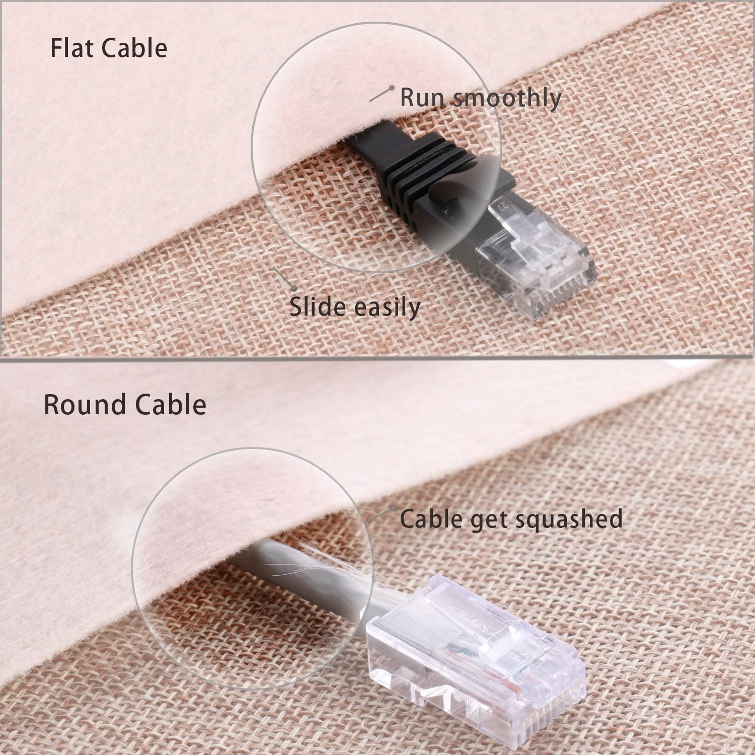 Cat 6 Ethernet Cable - Flat Internet Network Cable - Cat6 Ethernet Patch Cable Short - Cat 6 Computer LAN Cable with Snagless RJ45 Connectors (10Ft-5pack-Black)