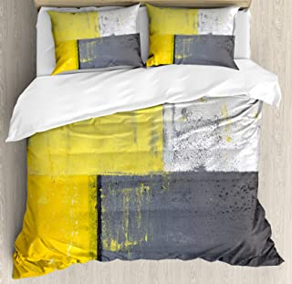 Ambesonne Grey and Yellow Duvet Cover Set, Street Art Modern Grunge Abstract Design Squares, Decorative 3 Piece Bedding Set with 2 Pillow Shams, Queen Size, Charcoal Yellow