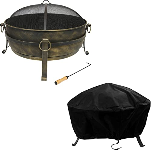 """2021 Sunnydaze 34"""" Cauldron Outdoor Fire Pit with Round Spark Screen, Fireplace Poker, and Metal outlet online sale Grate and Black 300D Polyester and high quality PVC 36"""" Diameter Outdoor Round Fire Pit Cover Bundle sale"""