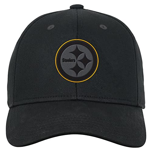 NFL by Outerstuff NFL Pittsburgh Steelers Youth Boys B W Structured  Adjustable Hat Black 2461ff135