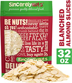 Sincerely Nuts – Raw Blanched Sliced Almonds | 2 Lb. Bag | Delicious Guilt Free Snack | Low Calorie, Vegan, Gluten Free | Gourmet Kosher Food | Source of Fiber, Protein, Vitamins and Minerals