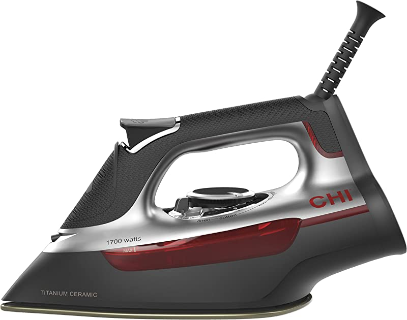 CHI Steam Iron With Titanium Infused Ceramic Soleplate Over 300 Steam Holes 1700 Watts Professional Grade Silver 13101