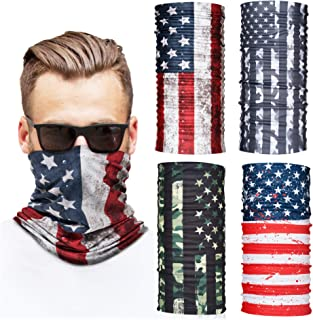 Neck Gaiters for Men and Women, 4-Piece Gaiter Masks, Breathable Microfiber UV Face Shields, Protection Hunting, Fishing, 4 USA Flag Designs
