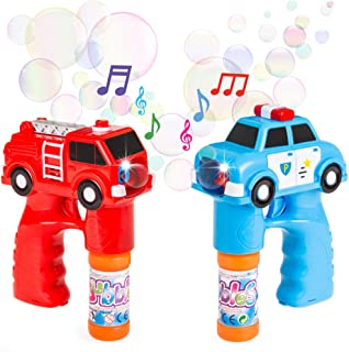 Best Choice Products 2-Piece Fire Truck and Police Car Bubble Blower Gun w/ LED Lights and Sounds