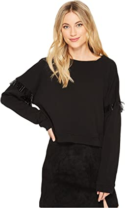 French Terry Long Sleeve with Beaded Fringe in Dark Star