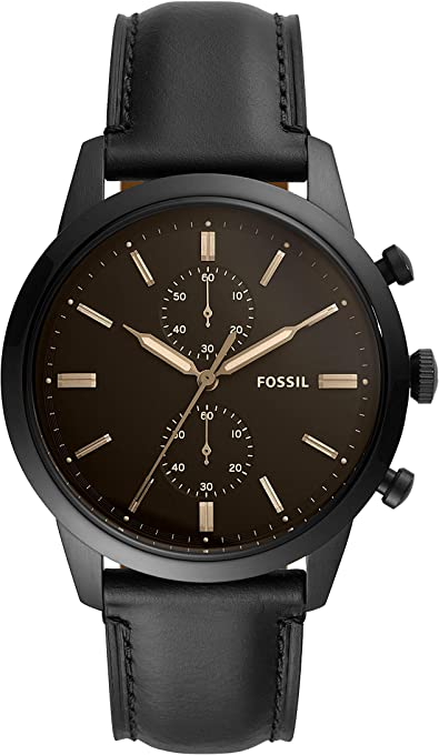 Fossil Men's Quartz Watch chronograph Display and Leather Strap, FS5585