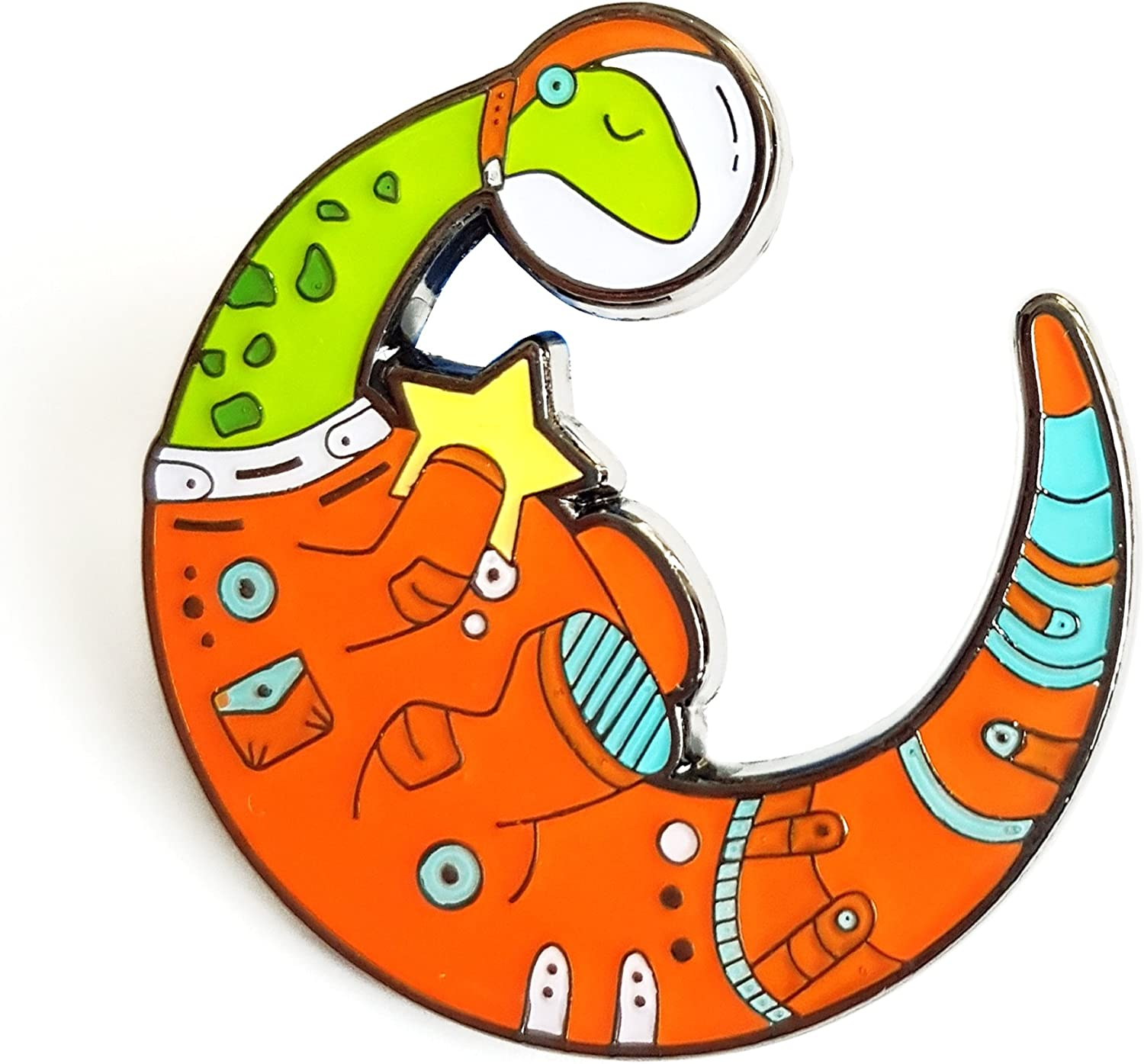 Dinosaur Lapel Pin Space In Credence a popularity Astronaut Suit Moon St Shaped Holding