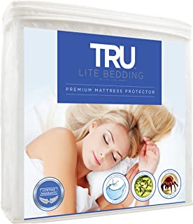 TRU Lite Bedding Waterproof Mattress Protector - Hypoallergenic Mattress Cover - Premium Cotton Terry Bed Protector - Protects from Dust Mites, Allergens, Germs, Stains, Odors - Queen Size