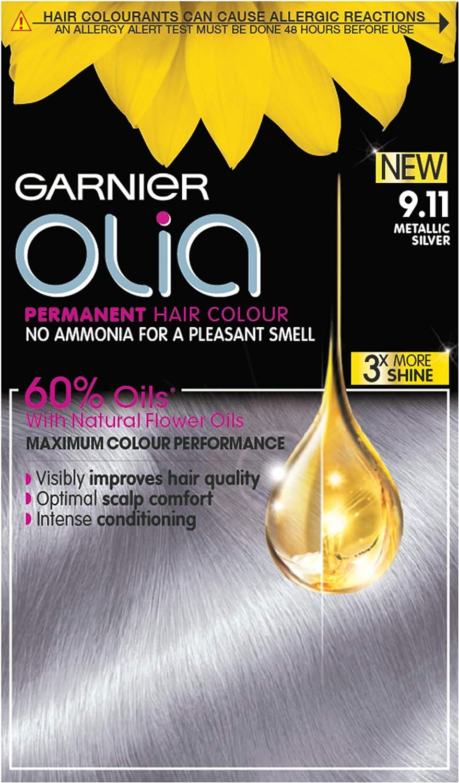 Garnier Tinte permanente Olia Silver para el cabello, hasta 100% cobertura de cabello gris, sin amoníaco para un aroma agradable, 60% aceites – plata ...