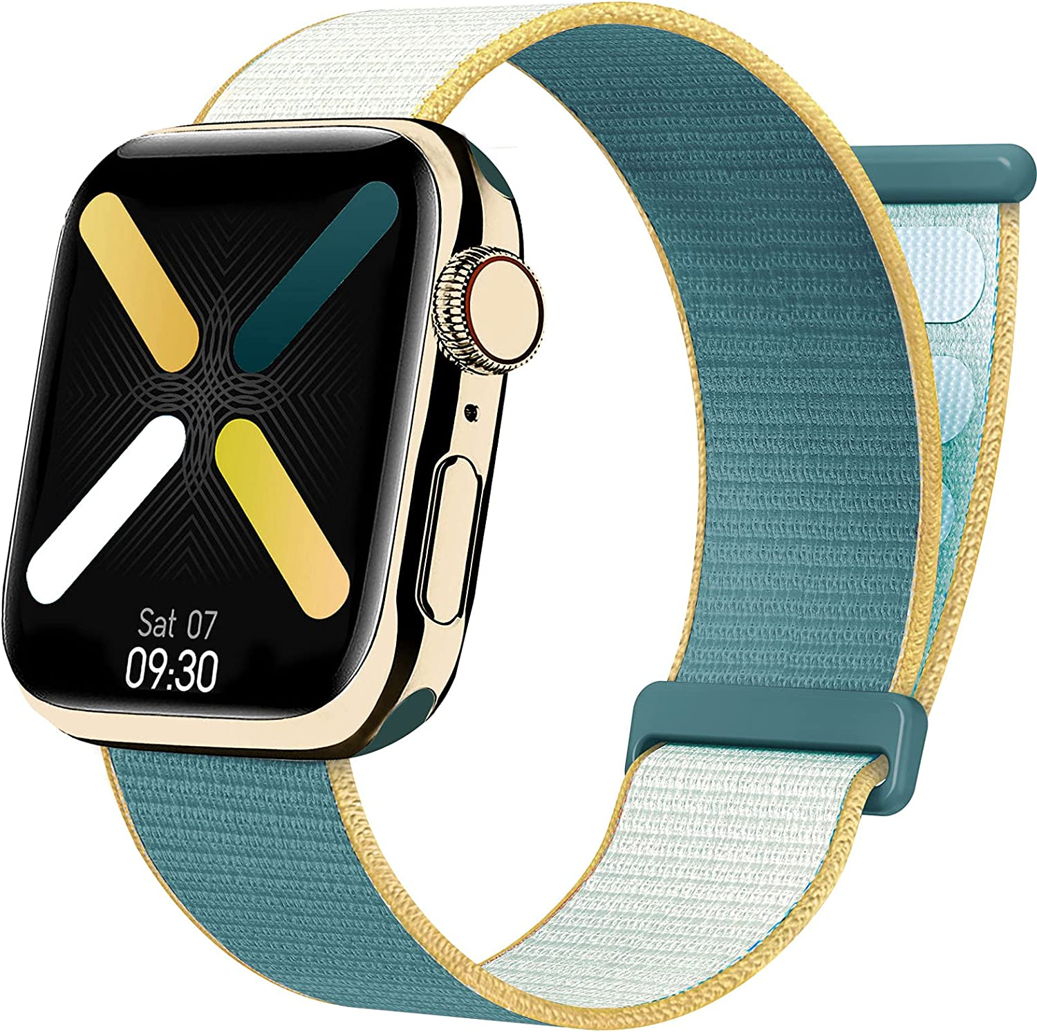 Velcro Nylon Band Compatible with Apple Watch Band Series SE/6 38/40/42/44mm, Adjustable Sport Loop Woven Stretchy Strap Braided Elastics for Women/Men Compatible with iWatch Series 5/4/3/2/1