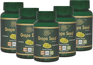 Herbo Natural Ayurvcedic Grape Seed Extract 500 Mg 60 Veg Capsules, GMP Certified (Pack of 5)