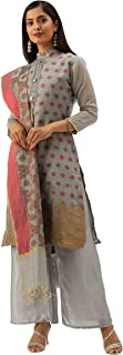 Rajnandini Women's Grey Heavy Silk Banarasi Weaving Work Unstitched Salwar Suit Material