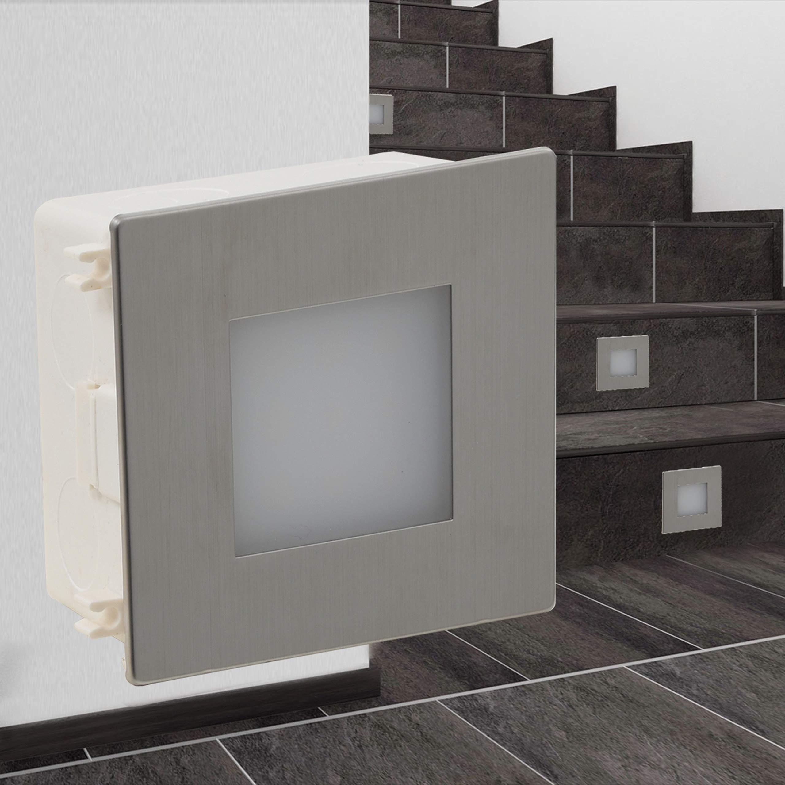 vidaXL 2x Focos Led para Escaleras Acero Inoxidable Luces Peldaños Escalones: Amazon.es: Iluminación
