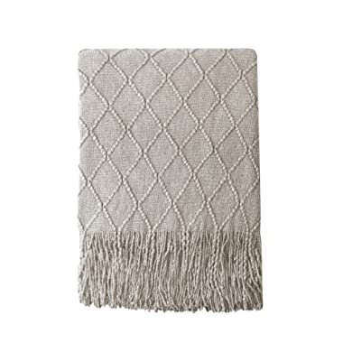 Bourina Beige Throw Blanket Textured Solid Soft Sofa Couch Cover Decorative Knitted Blanket, 50  x 60 , Beige