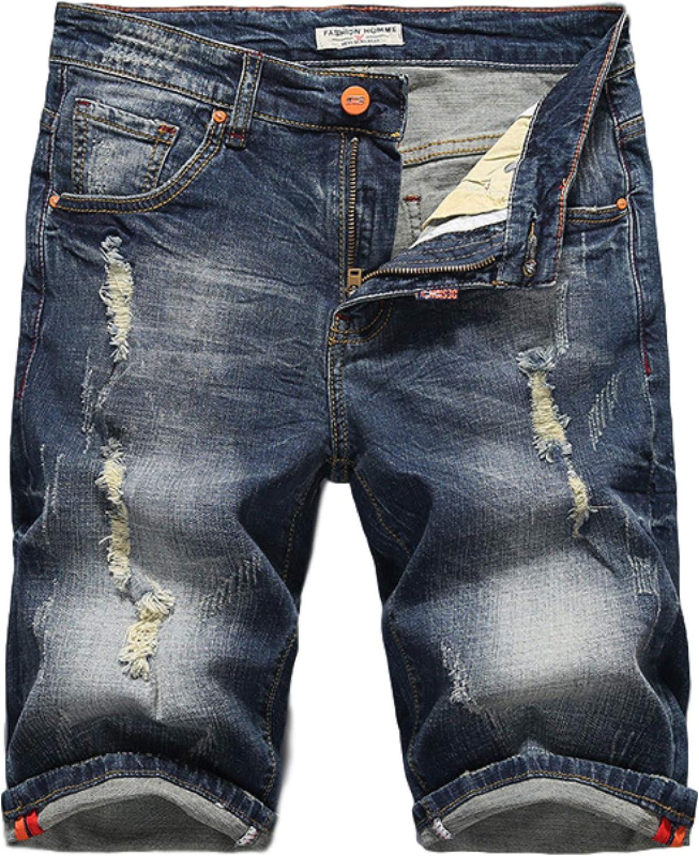 Men's Denim Shorts Regular Fit Classic Basic Denim Blue Washed Thin 34