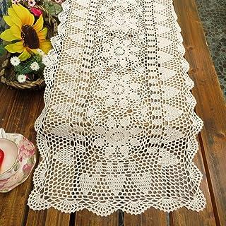 kilofly–Juego de lazos de crochet hecha a mano Camino de mesa, rectangular, varios tamaños, algodón, Blanco, 15 x 51 inch