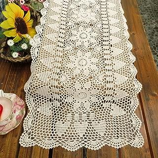 kilofly Handmade Crochet Lace Rectangular Table Runner 15 x 36 Inch, White