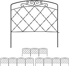 12-delig perkhekje, sierhekje voor in de tuin, borderrand metaal, decoratie, hekje vintage, 41,5 x 735 cm, zwart