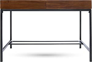 Christopher Knight Home Ebony Industrial Acacia Wood Storage Desk Iron Accents, Dark Oak + Rustic Metal